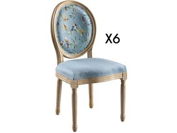 Lot de 6 chaises LOUIS XVI - Tissu effet velours - Motif Printanier - Bleu ciel