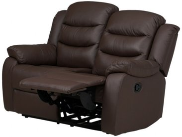 Canapé 2 places relax en cuir de buffle PLITON - Chocolat