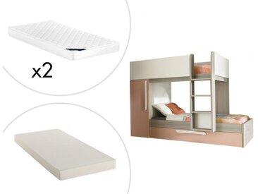 Lits superposés avec tiroir lit gigogne ANTONIO - 3x90x190cm - Armoire intégrée - Pin rose et blanc + matelas