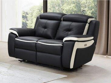 Canapé 2 places relax électrique en cuir ANGELIQUE - Noir/blanc