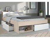 Lit DEBAR avec rangements et tiroirs - modulable 140*190cm ou 140*200 cm - Acacia et blanc