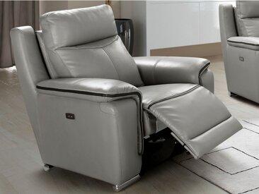 Fauteuil relax électrique PAOSA en cuir - Gris passepoil anthracite