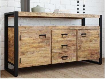 Buffet HARLEM - 2 portes & 3 tiroirs - Bois de manguier & métal