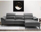 Canapé d'angle en cuir BERGAMO - Anthracite - Angle droit
