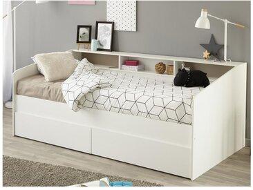 Lit avec tiroirs et étagères PAULETTE - 90 x 200 cm - blanc