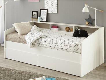 Lit avec tiroirs et étagères PAULETTE - 90x200 cm - blanc