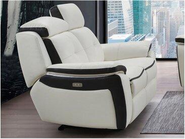 Canapé 2 places relax électrique en cuir ANGELIQUE - Blanc/anthracite