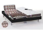 Lit électrique relaxation tout plots matelas 100% latex 5 zones JUPITER de DREAMEA - Noir - 2 x 80 x 200 cm - moteurs OKIN