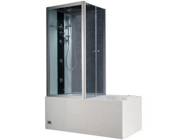 Cabine de douche intégrale avec Baignoire DARIA en acrylique renforcé vitre gris foncé - L150 x P75 x H215 cm - 30 microjets et 6 gros jets