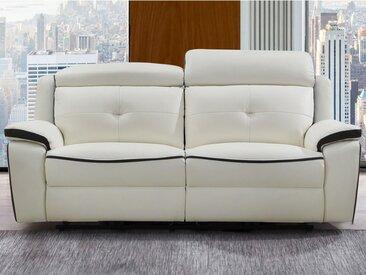 Canapé 3 places relax électrique en cuir ANGELIQUE - Blanc/anthracite