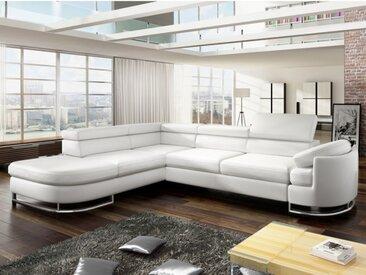 Canapé d'angle convertible en simili MYSEN  - Blanc - Angle gauche