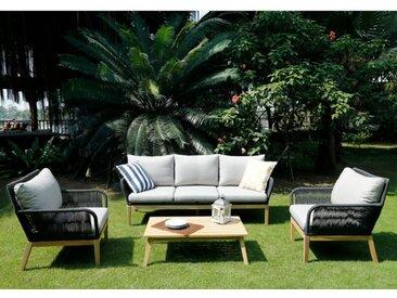 Salon de jardin KOLOA en acacia et cordes: un canapé 3 places, 2 fauteuils et une table basse