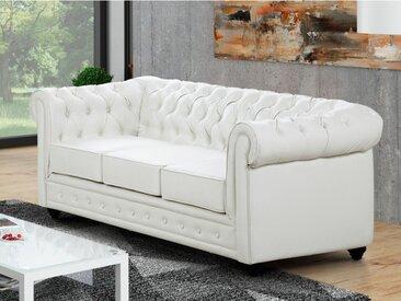 Canapé 3 places en simili CHESTERFIELD - Blanc