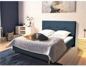 Lit LUCAS tête de lit capitonnée - 140 x 190 cm - Tissu bleu