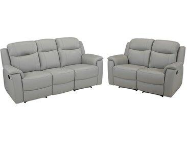 Canapé 3+2 places relax EVASION en cuir - gris clair - avec plateau bar