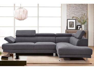 Canapé d'angle en tissu DANVIN avec têtières - Gris - Angle droit