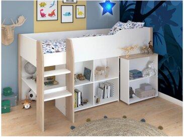 Lit combiné MARIA - Avec bureau et rangements - 90 x 200 cm - Coloris : blanc et chêne