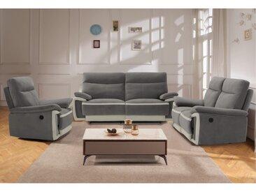 Canapé 3 places relax électrique en velours METTI - Gris et bandes écru