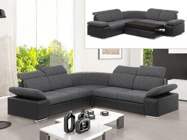 Canapé d'angle convertible avec rangement en tissu et simili RABELAIS - Bicolore anthracite et noir