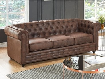 Canapé 3 places CHESTERFIELD en microfibre aspect cuir vieilli