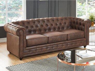 Canapé 3 places CHESTERFIELD en microfibre aspect cuir vieilli
