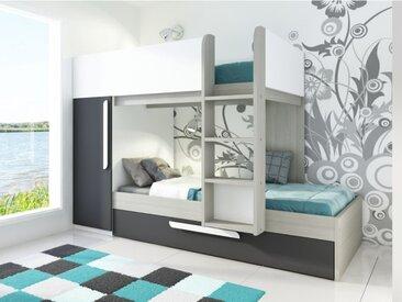 Lits superposés avec tiroir lit gigogne ANTONIO - 3x90x190cm - Armoire intégrée - Pin anthracite et blanc
