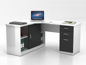Bureau d'angle NORWY - 2 portes & 2 tiroirs - Blanc & Gris