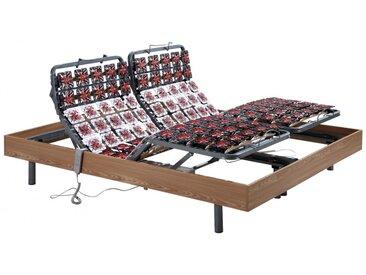 Sommier électrique de relaxation 2x78 plots déco bois chêne naturel de DREAMEA - 2x90x200cm  - moteurs OKIN