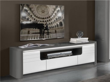 Meuble TV PERCEPTION - LEDs - 2 portes & 1 tiroir - Gris & Blanc