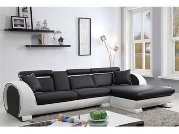 Canapé d'angle en simili KOMODOR - Assise noir et contour blanc - Angle droit