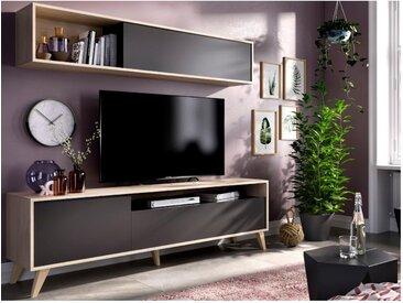 Mur TV ALBORA - Avec rangements - Coloris : Anthracite & chêne