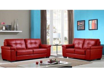 Canapés 3+2 places en cuir HAZEL - Rouge