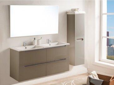 Ensemble SELITA - meubles de salle de bain avec double vasque et miroir - Laqué taupe