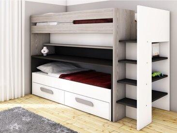 Lits superposés DAVID - 90x190/200 cm - Avec rangements, lit et bureau coulissants - Pin gris, blanc et anthracite
