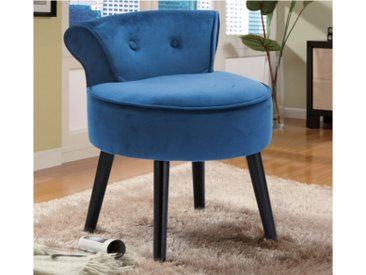 Petit fauteuil crapaud SAVEA en velours - Bleu nuit