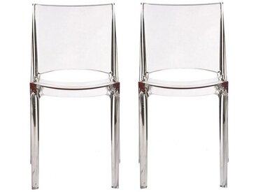 Lot de 2 chaises empilables HELLY - Polycarbonate plein - Cristal