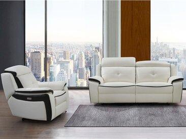 Canapé 3 places et fauteuil relax électrique en cuir ANGELIQUE - Blanc/anthracite