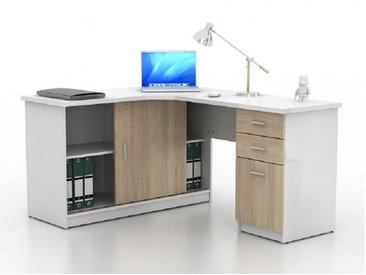 Bureau d'angle NORWY - 2 portes & 2 tiroirs - Blanc et chêne