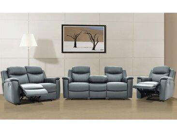 Canapé 3+2+1 places relax EVASION en cuir - Gris
