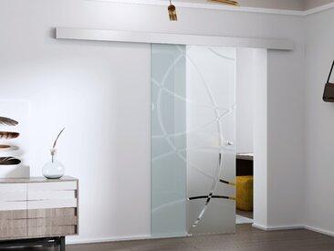 Porte coulissante en applique HEIDI - H205 x L73 cm - Verre trempé