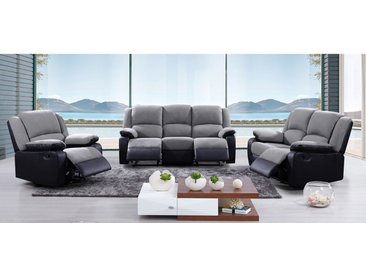 Canapé 3+2+1 places relax en microfibre et simili BILSTON II - Gris et noir
