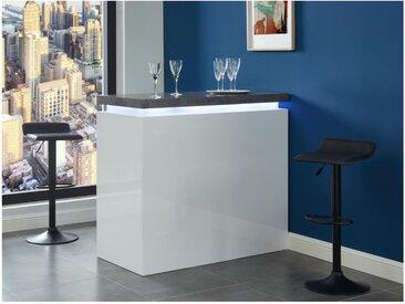 Meuble de bar HALO II - MDF laqué blanc - LEDs - Blanc et Béton