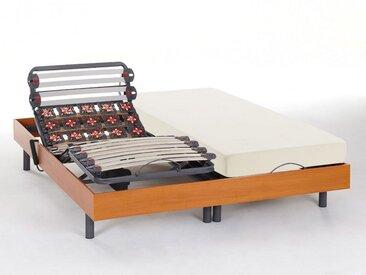 Ensemble relaxation lattes et plots - HEDONA de NATUREA - moteurs OKIN - merisier - 2x80x200cm