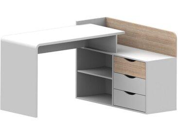 Bureau d'angle DECLAN - MDF - 3 tiroirs - Coloris : Blanc & Chêne