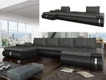 Canapé d'angle panoramique convertible et réversible en tissu et simili AZELMA - Noir et anthracite