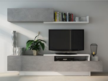 Mur TV MONTY avec rangements - Coloris : Béton & blanc