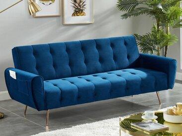 Canapé 3 places convertible clic-clac en velours POLANI - Bleu nuit