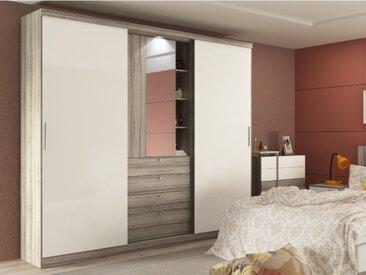 Armoire BODIL - portes coulissantes - Miroir et tiroirs - L240cm - Chêne et ivoire