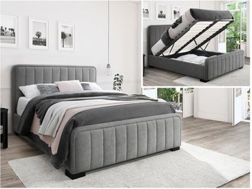 Lit coffre SERENA tête de lit coutures verticales - 160x200cm - Tissu effet suédine - Gris