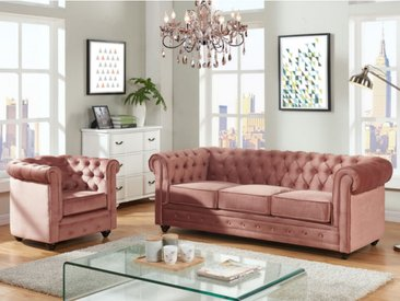 Canapé 3 places et fauteuil CHESTERFIELD - Velours rose pastel